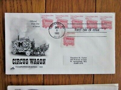 1900s CIRCUS WAGON TRANSPORTATION COIL 6 STAMPS 1992 FDC for sale  Shipping to India
