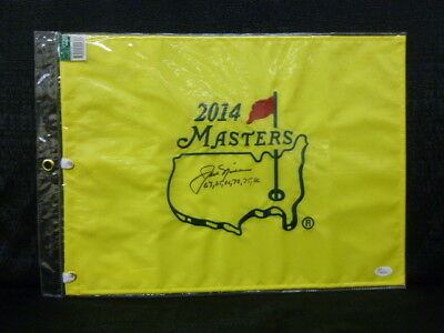 Jack Nicklaus Signed 2014 Masters Flag Adding 1963 65 66 72 75 86 JSA Y89064