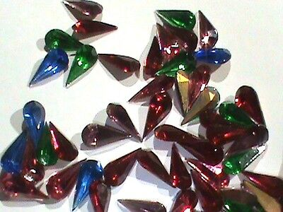 Czech Rhinestones Long 15x7 Tear Shape 4 Colors Emerald Sapphire Siam Amethyst