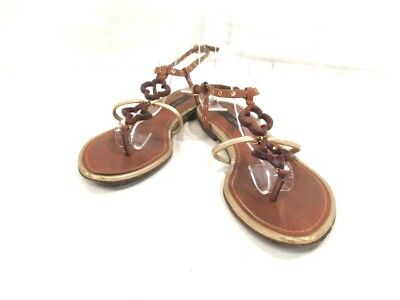 Auth LOUIS VUITTON Brown Gold Leather Wood Sandals Women