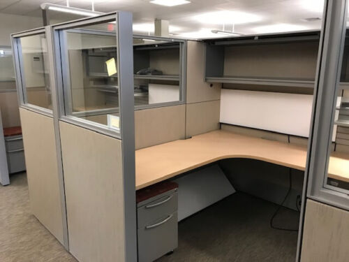 Used Office Cubicles, Used Haworth Compose 6x8 Cubicles