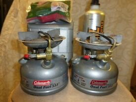Coleman 533 Camping stove x2 with fuel bottle and funnel