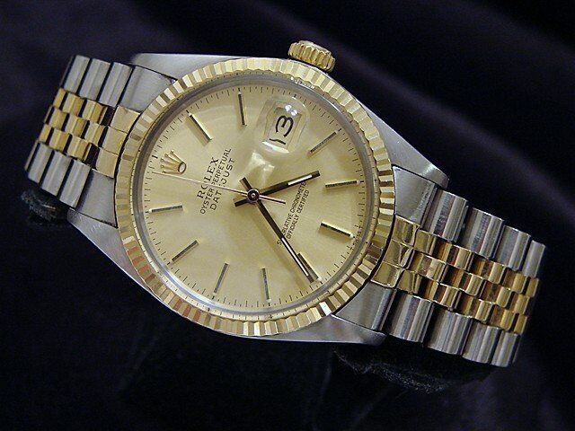 Rolex Datejust Mens 2tone 18k Yellow Gold & Steel Watch Jubilee Champagne 16013