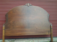 Antique Walnut Head Board and Matching Mirror Frame