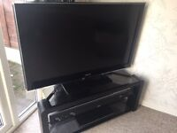 "complete samsung 46"" tv, blue ray and sound system with blue tooth bass unit"