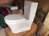 Lyon II white close coupled toilet, cistern and seat