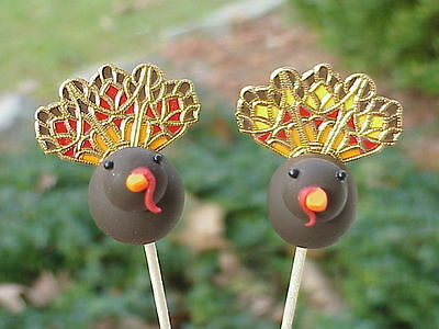2 Polymer Clay OOAK Miniature Handmade Stained Glass Turkey Cupcake Flower (Glass Polymer Clay)
