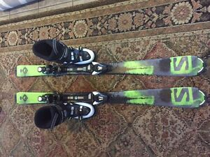 Salomon 130 skis and boots size 6