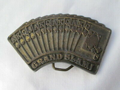 Grand Slam Belt (Vintage 1976 Grand Slam Poker Cards Fanned Hand Brass Belt Buckle By Adezy )
