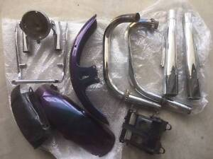 Yamaha XS650 parts - exhaust, fenders, side covers, battery box Crestmead Logan Area Preview