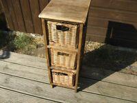 Wicker drawer storage