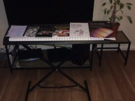 Casio Keyboard with stand, manual and piano/keyboard courses