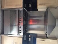 SMEG A2 OPERA RANGE COOKER STAINLESS PLUS MATCHING EXTRACTOR AND SPLASH BACK