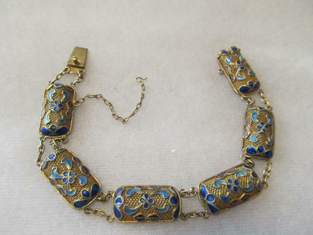 Antique Chinese Enamel Filigree Gold Gilt Silver Bracelet