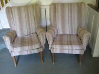Pair of wing armchairs, loose covers