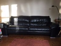 Free! 3 seater black leather couch and 2 matching arm chairs