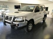 2012 Toyota Hilux KUN26R MY12 SR Double Cab White 5 Speed Manual Cab Chassis North Toowoomba Toowoomba City Preview