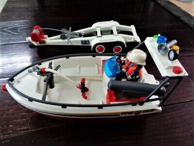 2005 Geobra Playmobil Toy Boat Rescue Fire  and Trailer 4512, 4823