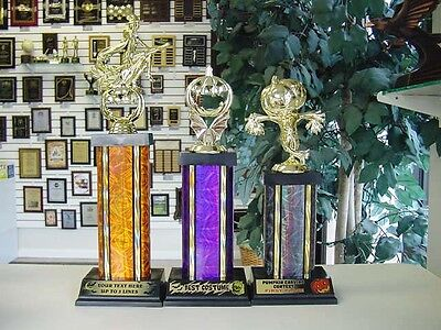 NEW!! SET OF 3 HALLOWEEN TROPHY WITCH SCARECROW PUMPKIN CARVING COSTUME CONTEST