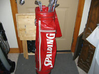 Red Spalding bag and set of clubs- $30