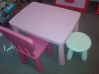 GOOD CONDITION, A NICE IKEA PINK CHILD'S TABLE WITH DARK PINK CHAIR + 2 X WHITE STOOLS