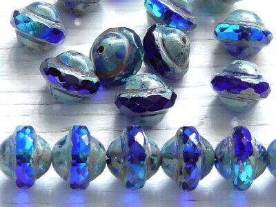 10 - 10x8mm CZECH AQUA COBALT BLUE PICASSO FACETED SATURN SAUCER GLASS BEADS