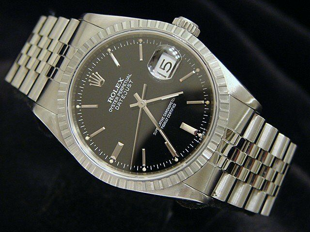 Rolex Datejust Mens Stainless Steel Quickset Watch Jubilee Band Black Dial 16220