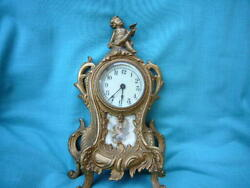 Vintage Antique Clock Cast Iron Cupids French country Marked 1890