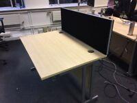 1200mm beech desks with black screens-6 in stock