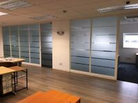 OFFICE CLEARANCE / OFFICE TABLES / CHAIRS / GLASS PARTITION / CUPBOARD / WOODEN FLOOR