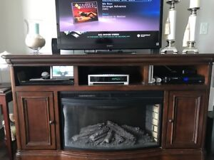 SONY Bravia TV with entertainment unit with fireplace insert