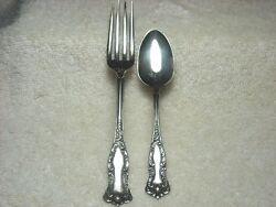 2) PCS International Wm Rogers AA Oxford Silverplate 5 O'Clock Spoon & 6 Fork