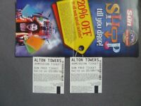 TWO ALTON TOWERS TICKETS MONDAY 5TH SEPTEMBER ADULT OR CHILD. ACTUAL TICKETS.