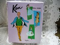 1961 KEN DOLL'S COOL LILAC PURPLE DOLL CASE,HANDLE,HANGARS