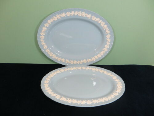 """Wedgwood Queensware Oval Serving Platters 16"""" & 14 1/4"""" Cream On Lavender Blue"""