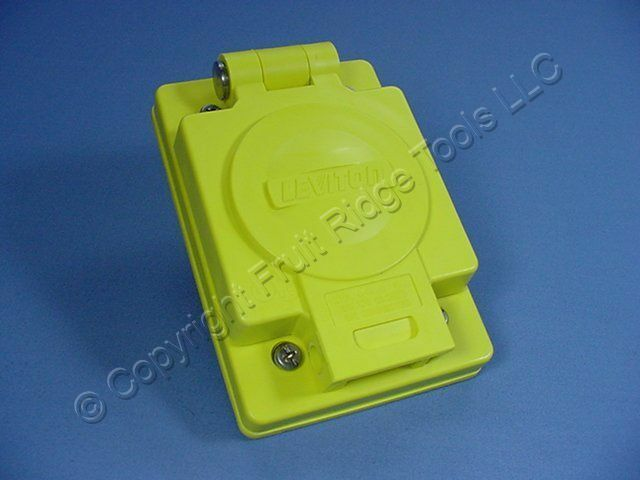 New Leviton Yellow Wetguard Flip Cover for 20A Locking Receptacle Outlets 60W04