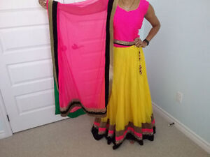 Bright Yellow and Hot Pink Lengha