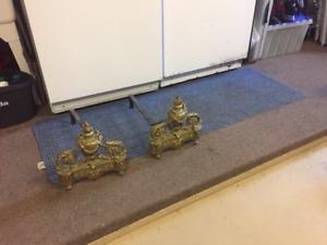 Antique Porte-buches en laiton pour foyer/log holder fireplace