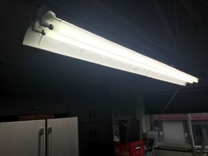 Fluorescent 8ft T8 light fixtures and tubes.