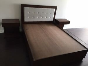 Solid Birch Queen Bed frame and nightstands
