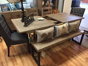 Rustic Reclaimed Table, 4 Chairs & Bench