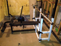 Northern Light Olympic Bench Press/Squat Rack + Weight Set + Bar