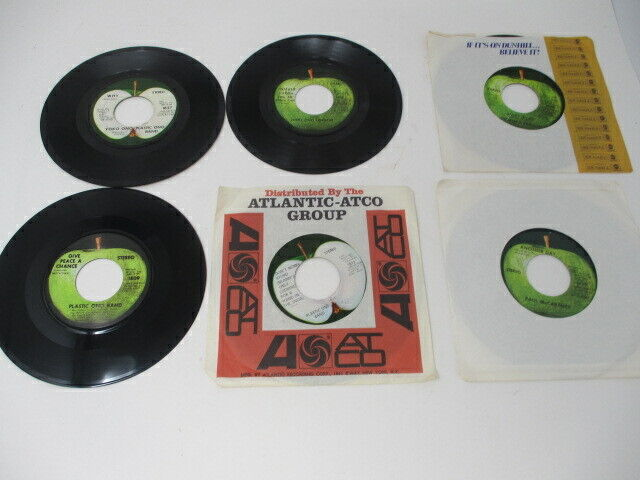 LOT OF 6  45's -Plastic Ono Band (4)  George Harrison (1)  Paul McCartney (1)
