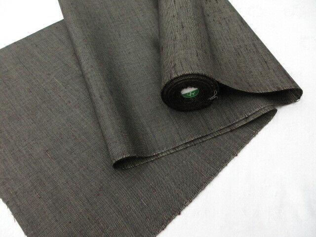 WIDE! Dark Khaki Wool Japanese TSUMUGI KIMONO Fabric BoltA350