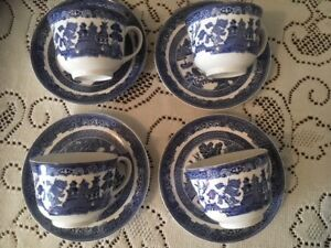 4 Cup & Saucer Sets, Johnson & Sons, Willow-Blue Pattern.