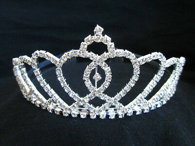 Princess Crown Costume (RHINESTONE TIARA PRINCESS QUEEN CINDERELLA BEAUTY COSTUME CROWN SILVER TIARA)