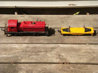 Vintage Lionel Train Engine and Flat Car