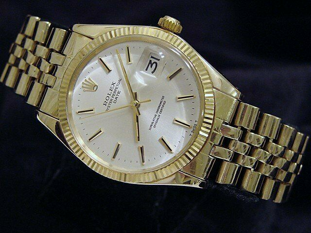 Rolex Date 1503 Men 14k Yellow Gold Watch Silver Dial Usa Oval Link Jubilee Band