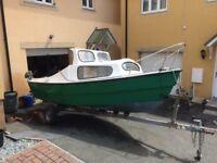 Western Avenger 16ft Cabin Boat, 15hp Evinrude, 2hp outboards, fish finder, trailer