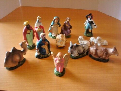 Vtg 13 Christmas Nativity Pieces Made in Japan Paper Mache / Composition